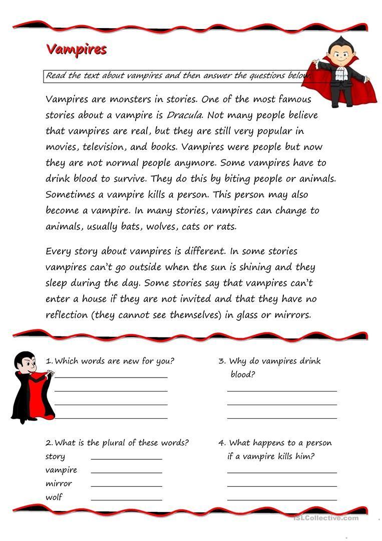 Vampires English Conversation Learning Reading Comprehension Activities Reading Comprehension [ 1079 x 763 Pixel ]