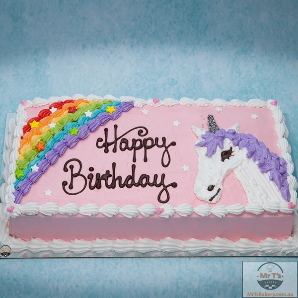 Unicorn Creamy Icing Birthday Cake - Unicorn birthday cake, Rainbow unicorn cake, Unicorn birthday party cake, Birthday sheet cakes, Birthday cake stand, Unicorn cake - Cover with color creamy sugar and white piping  This unicorn cake will make any birthday occasion a little more magical  Also with rainbow decoration will help the birthday cake standing out too  Be Love! Note please bear in mind that product photos may slightly different from actual item in terms of color due to the lighting photo shooting or the monitor's display or different colors from different suppliers, etc