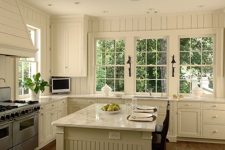 Antique white shaker kitchen cabinets with marble. vertical planking on  walls, windows - Antique White Shaker Kitchen Cabinets With Marble. Vertical