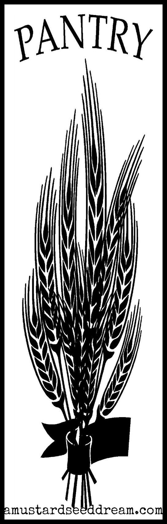 Pantry door sticker decal with wheat by mustardseeddream on etsy