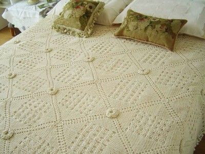 3d crochet flower | Gorgeous Hand 3D Flower Crochet BED Cover Bedspread Coverlet Beige ...