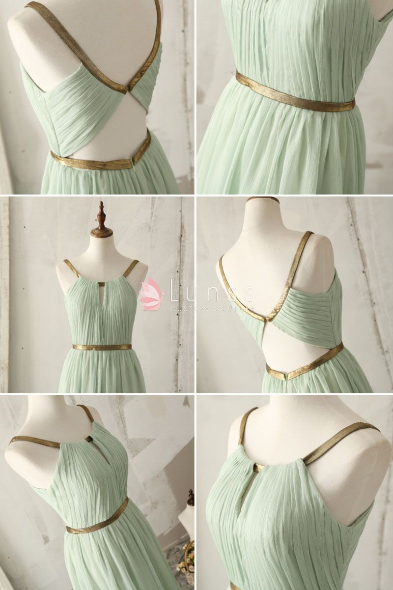 Gold Strap Floor Length A Line Light Green Bridesmaid Dress 4 Light Green Bridesmaid Dresses Green Chiffon Bridesmaid Dress Mint Green Bridesmaid Dresses