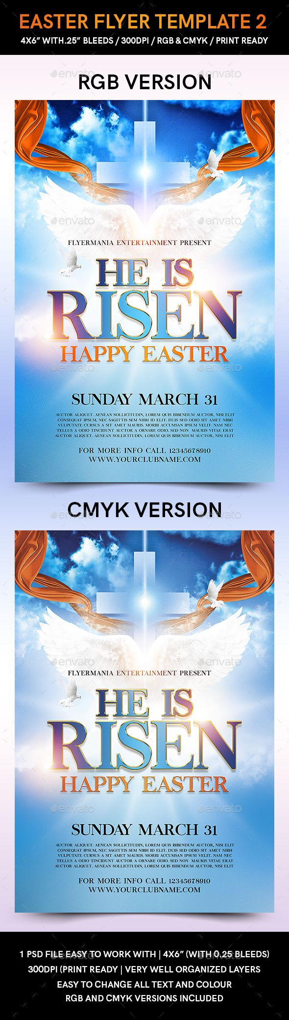 Easter Flyer Template 2 | Flyer Template, Flyer Printing And Print Templates