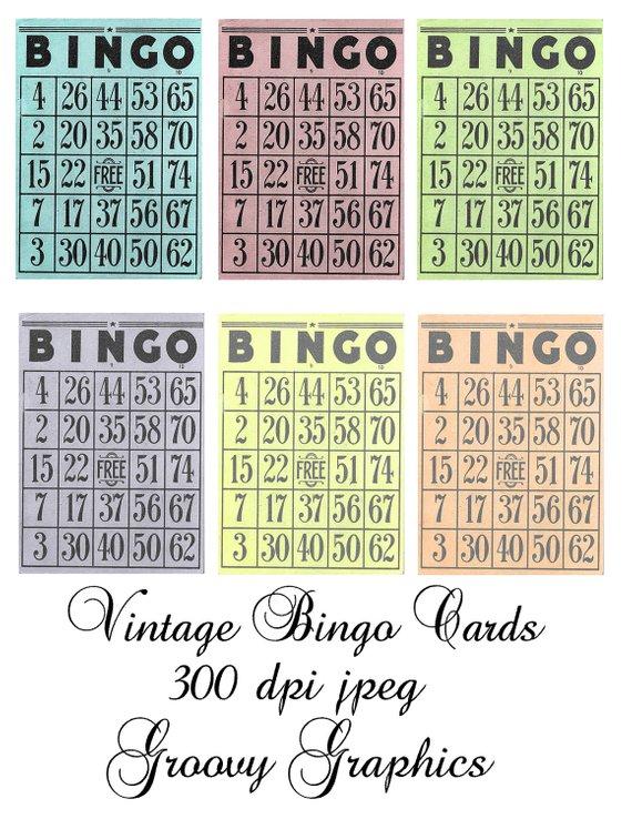 Vintage Bingo ATC ACEO cards - Digital collage sheet - Card Making
