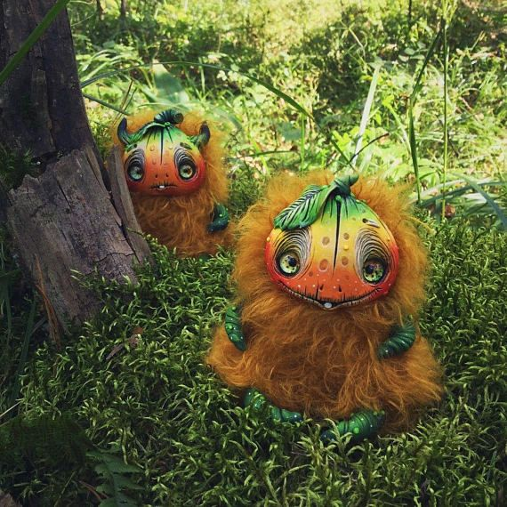 Pumpkin toy, fantasy creature,creepy cute, pumpkin, halloween - creepy halloween decor