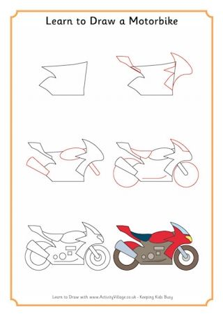 Learn To Draw Transport Motorbike Drawing Realistic Drawings