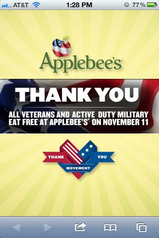 Applebee S Veterans Landing Page My Artwork Mobile Advertising Veteran Landing Page