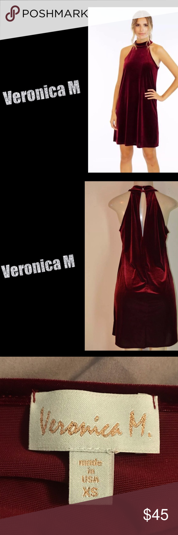 73833d449e2 Veronica M Velvet Dress - XS Veronica M Velvet Halter Dress. NWOT. Size XS.  Smoke free home. Veronica M Dresses Mini