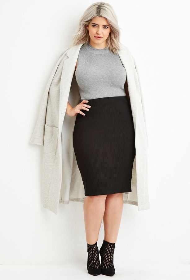 ed083a175 Plus Size Ribbed Pencil Skirt | Plus Size Fashion | Winter skirt ...