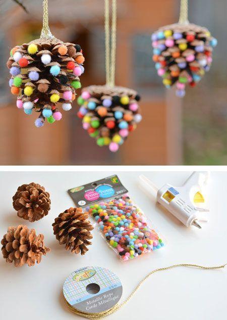 32 Pom Pom Winter Crafts for Kids - Craftionary -  Pommes de pin de Noël  - #Ar...