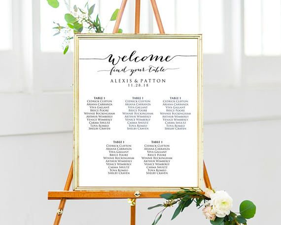 Wedding Seating Chart Template Instantly Download Edit And Print