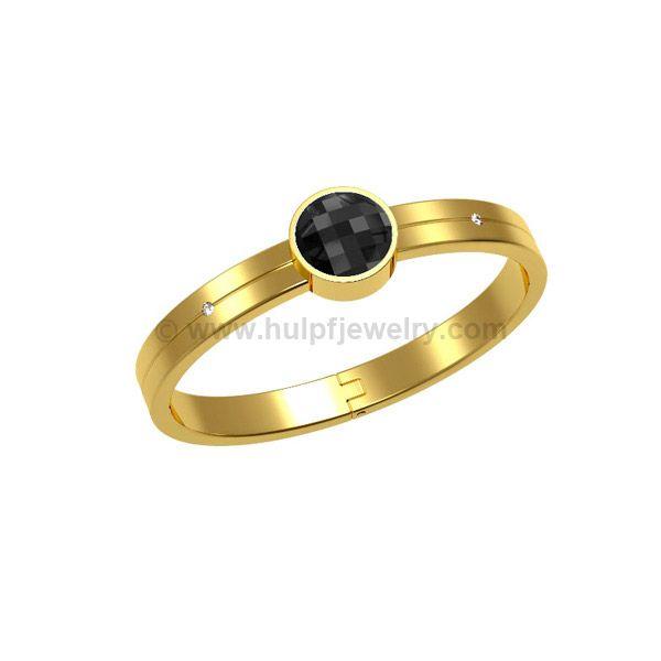 STAINLESS STEEL BANGLE, GLOSSY GOLD PVD WITH JET SWAROVSKI ELEMENT http://www.hulpfjewelry.com/pt/Passo_a_passo_da_producao_de_joias_em_aco_inoxidavel_na_China.html