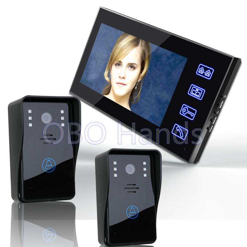 7 Color Video Door Phone Intercom System 1 Monitor Doorbell 2