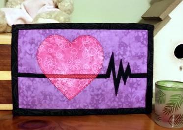 Heart Healthy Mug Rug - Nurse or Doctor Mini Quilt