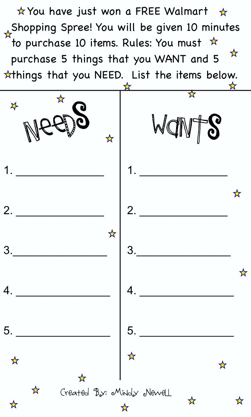 Worksheets Wants And Needs Worksheets iintegratetechnology needs and wants scarcity firstsecond grade scarcity