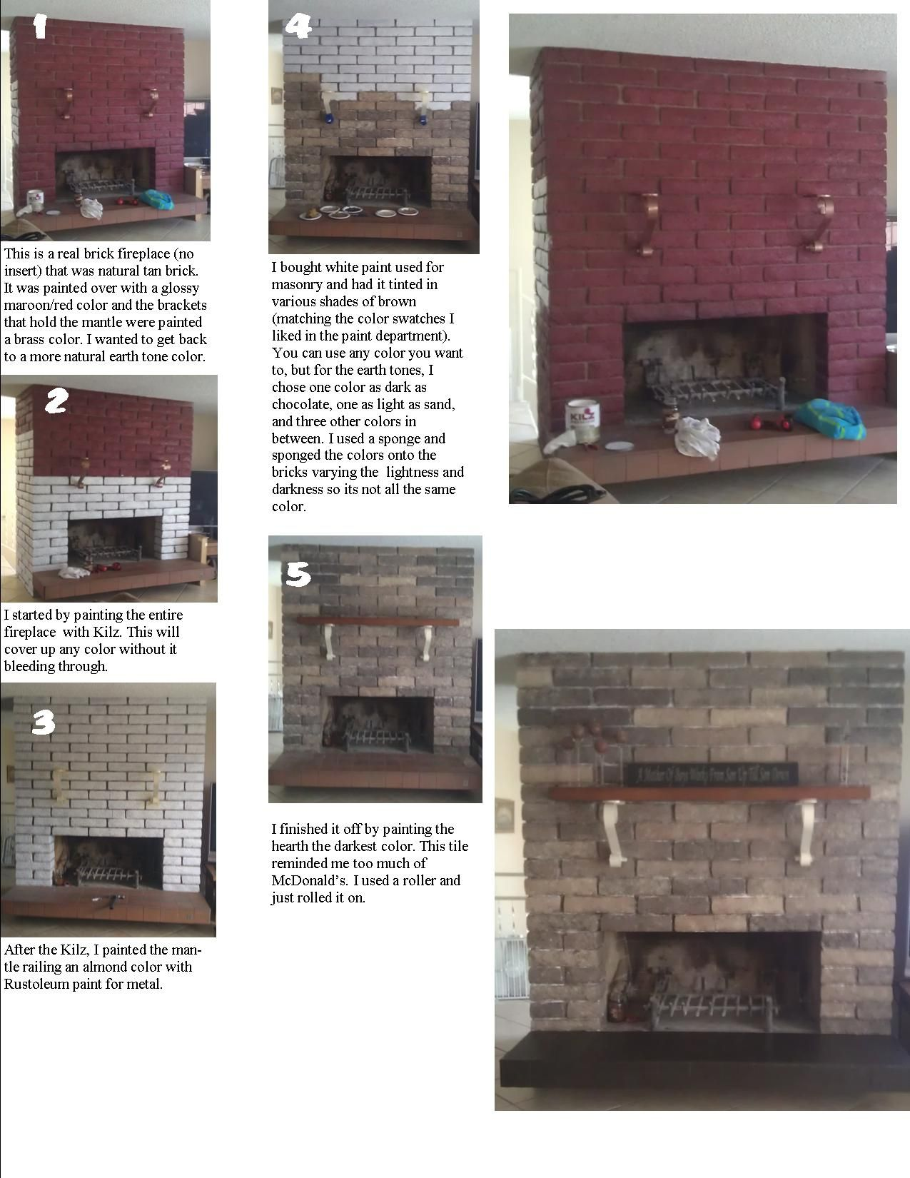 refinishing a brick fireplace that was painted an ugly color