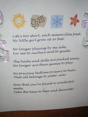 The Poem My Mom Made For My Bridal Shower And Attached To A Hope
