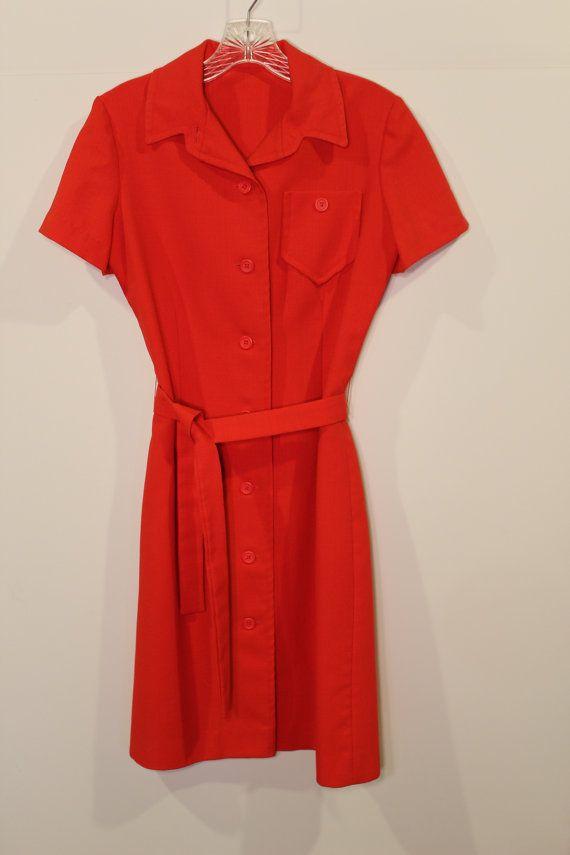 76ac2eb64992 Vintage 70s Waitress Dress - Diner Dress - Red Orange - Button Down ...
