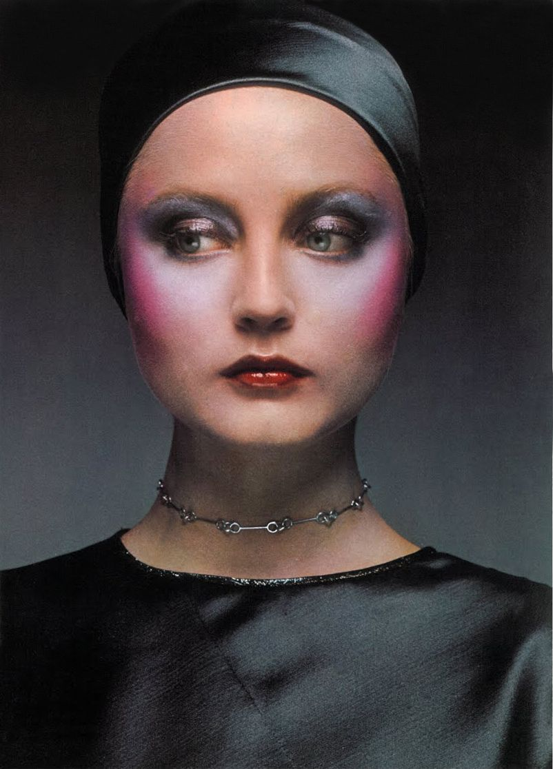 Biba makeup in Vogue Magazine (is this model Ingrid Boulting?) Odd and  extreme
