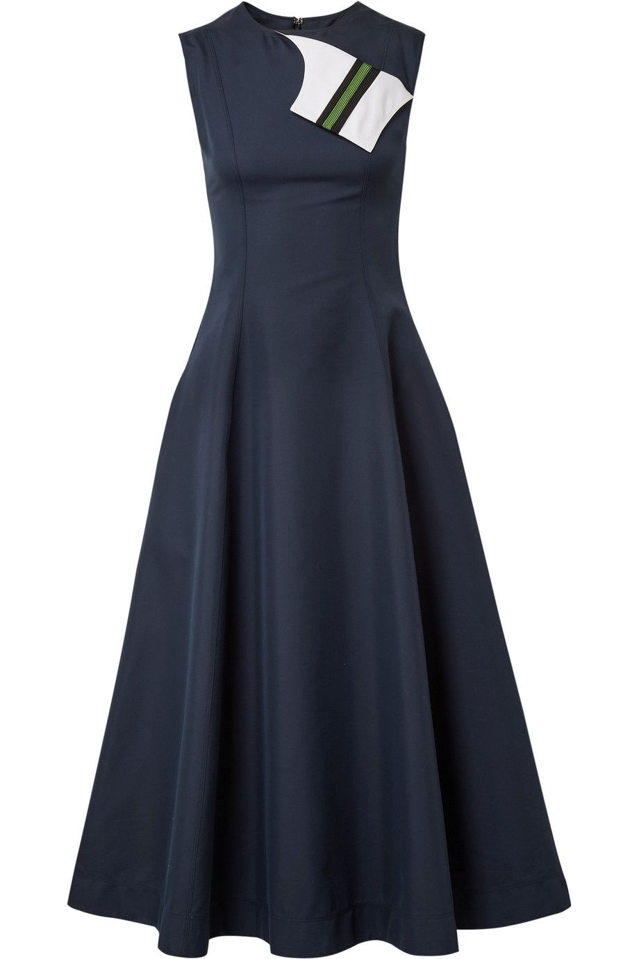 Free Shipping Top Quality All Size Grosgrain-trimmed Cotton And Silk-blend Twill Midi Dress - Midnight blue CALVIN KLEIN 205W39NYC Free Shipping Buy ORTEF