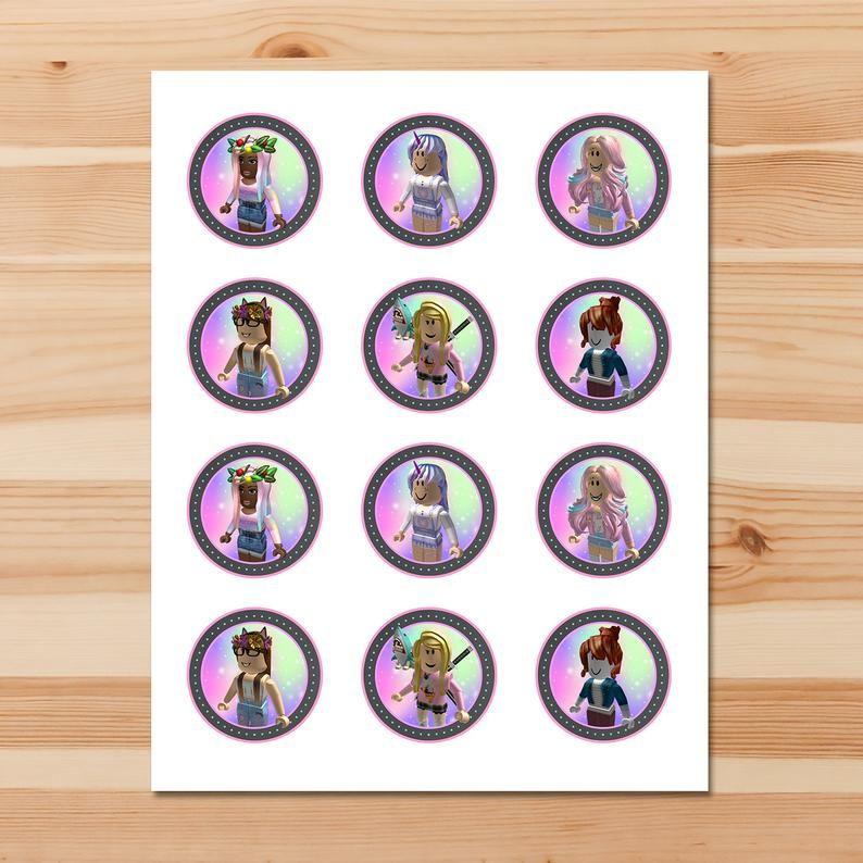 Girl Roblox Cupcake Toppers Pink Roblox Stickers Roblox