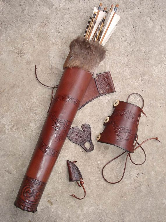Hip Quiver & Arm Guard in a Tooled Archery by MadeOfLeather, $230.00