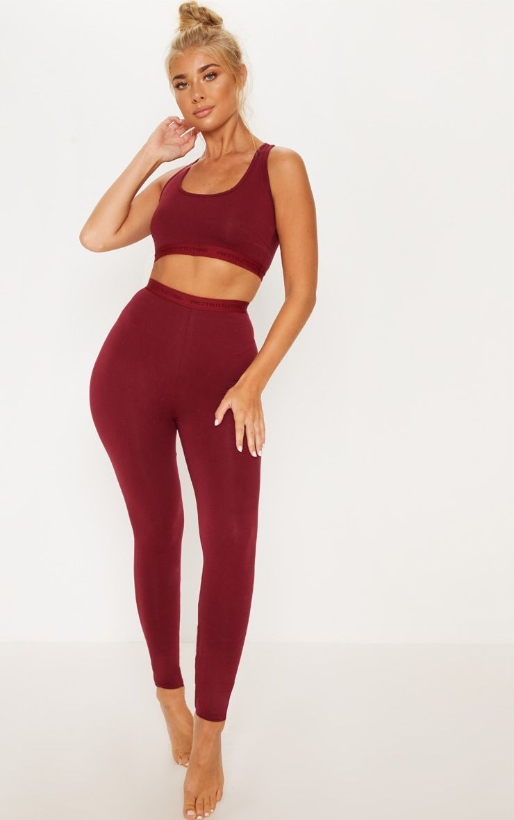 914291c8e59 PRETTYLITTLETHING Maroon High Waisted LeggingSwitch up your loungewear  collection for the A W sea.