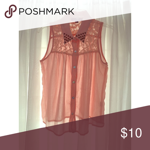 Women's Sheer top Sheer top with lace and gems Tops