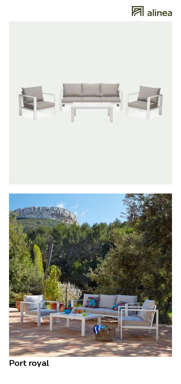 alinea : port royal salon de jardin taupe en aluminium (6 places ...