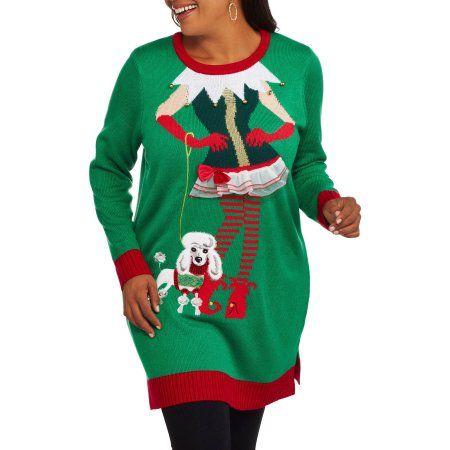 4065be3795c Holiday Time Women'S Plus Christmas Tunic Sweater - Flirty Elf ...