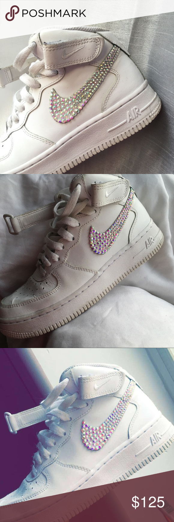 02044364c7db Customized bedazzled Nike Air Force hightops These are handmade bedazzled  Nike Air Force sneakers They re hightop
