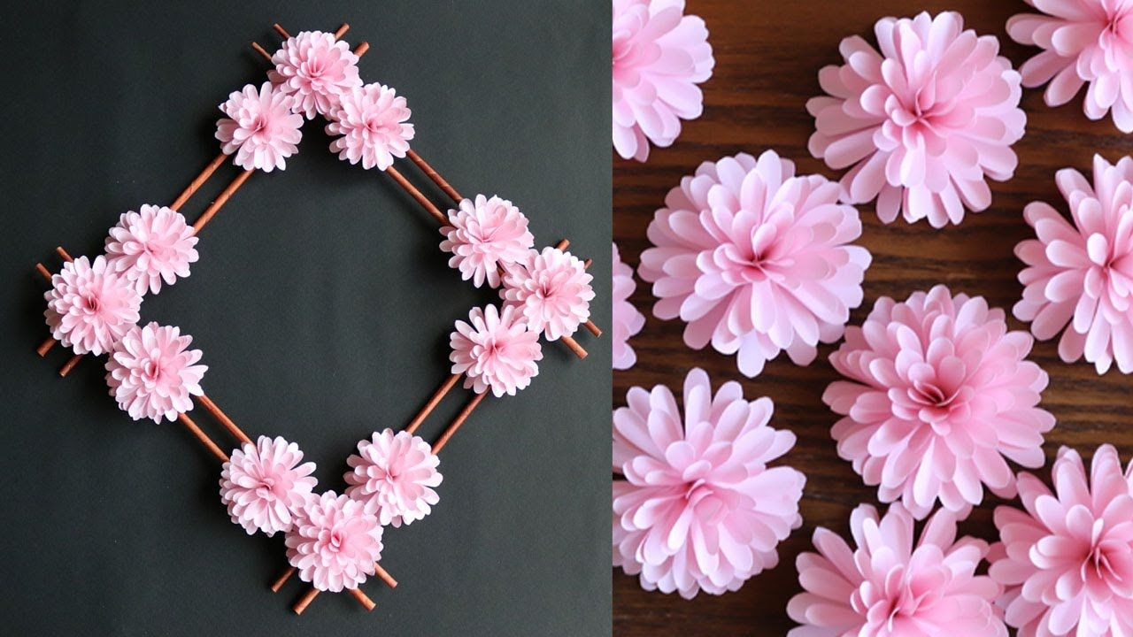 Paper Flower Wall Decoration Easy Wall Decoration Ideas Paper