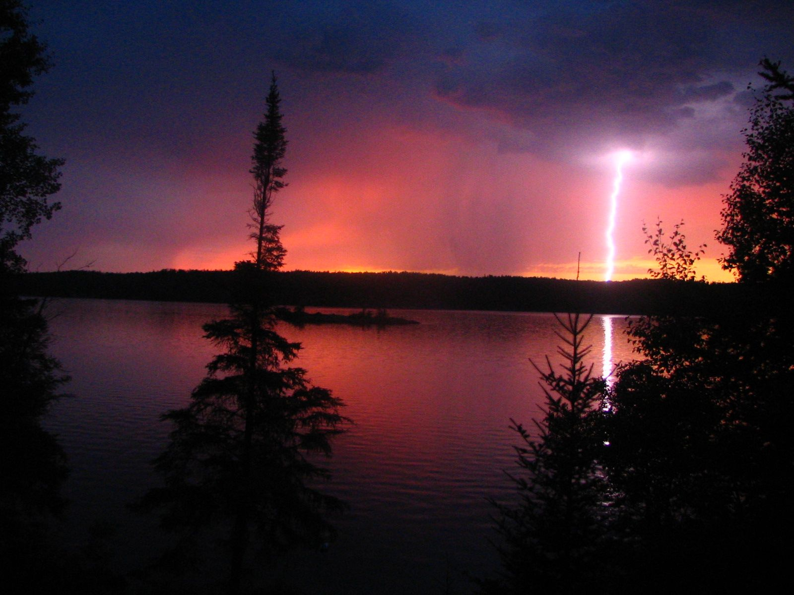Bird Lake Manitoba lightening strike