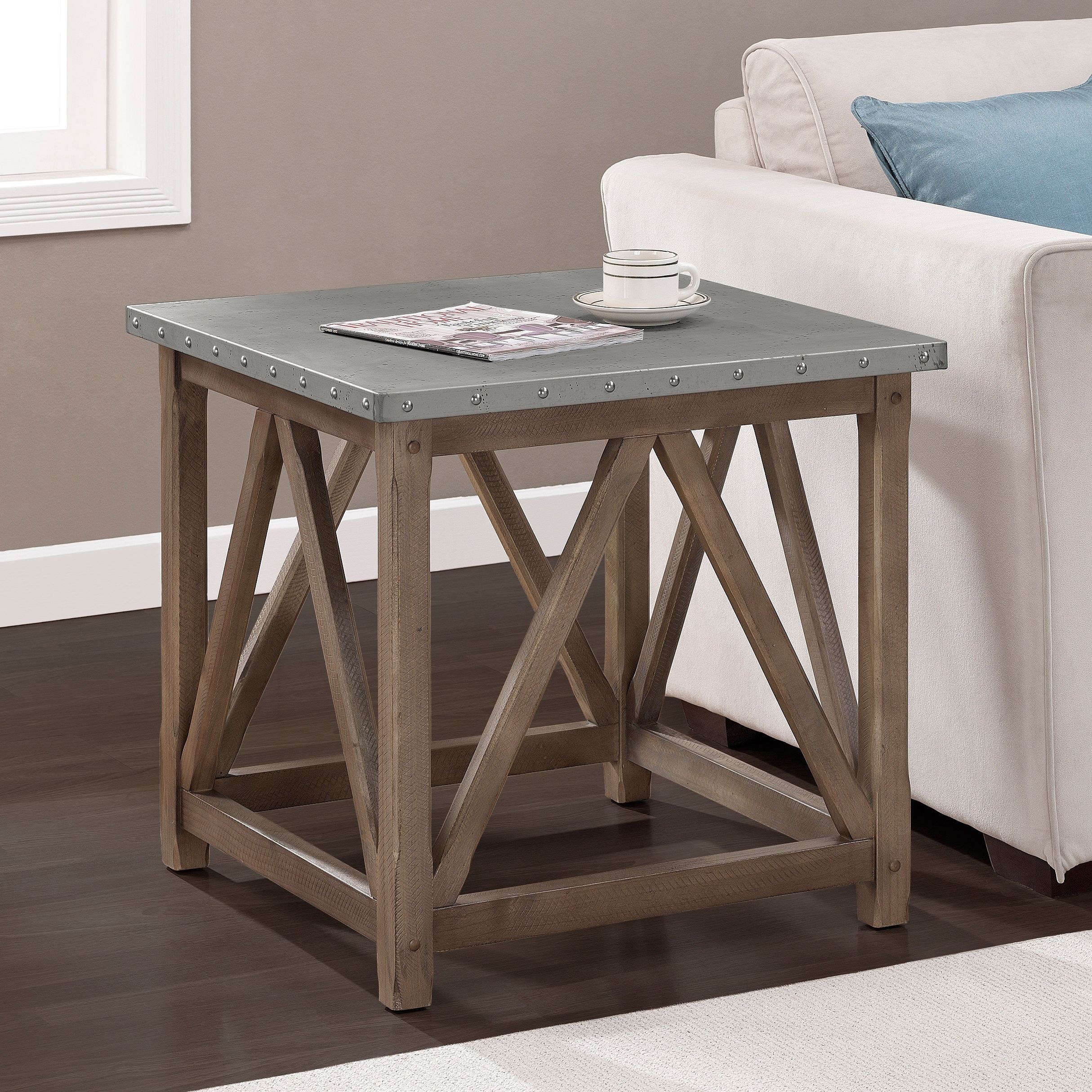 Charmant This Unique End Table Adds Distinct Style To Your Living Space. The Side  Table Features Sturdy, Solid Wood Construction And A Zinc Wrapped Top With  Nailhead ...