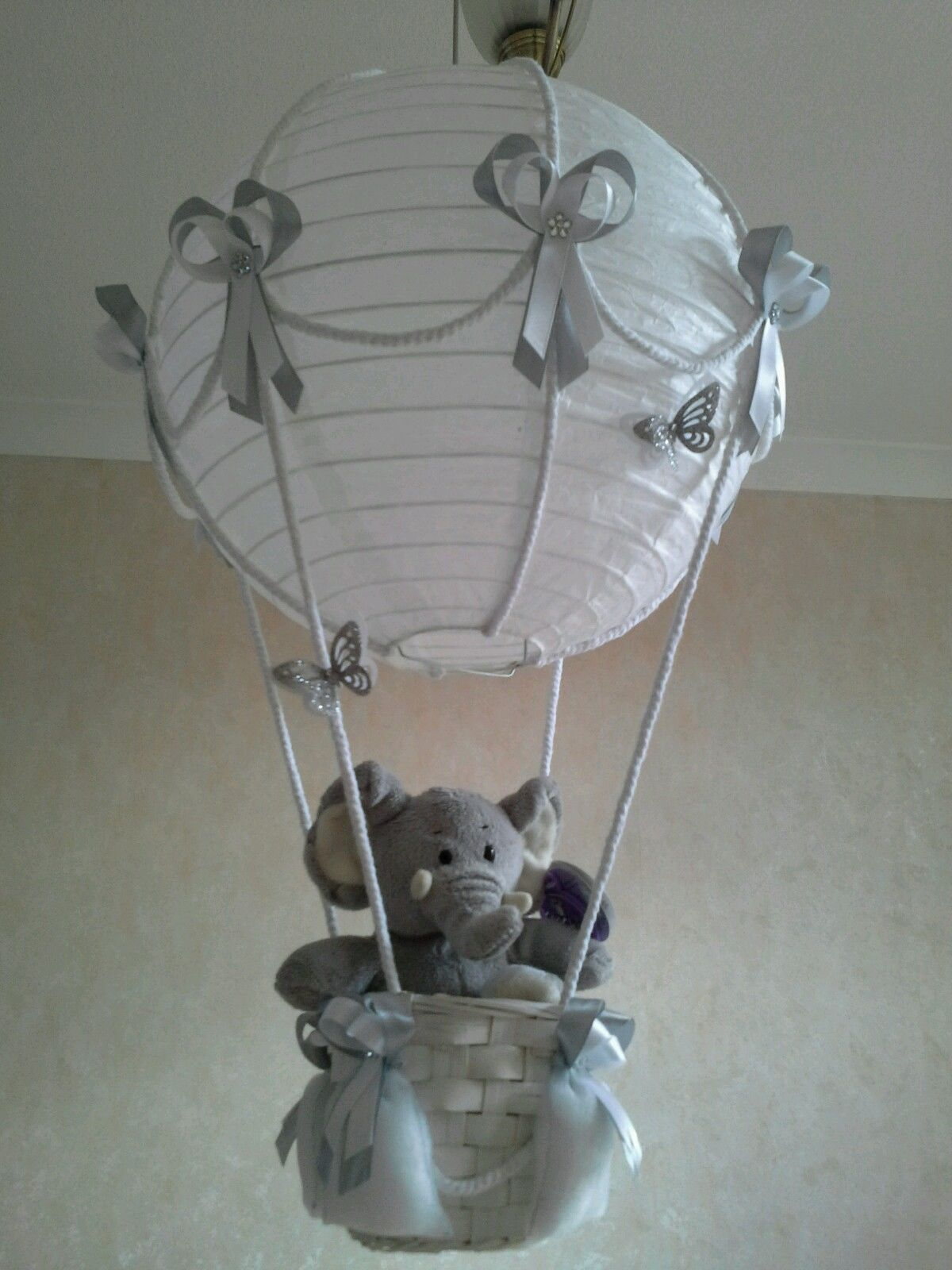 Elephant lamp for nursery - Cute Little Elephant In Hot Air Balloon Light Lamp Shade Made To Order