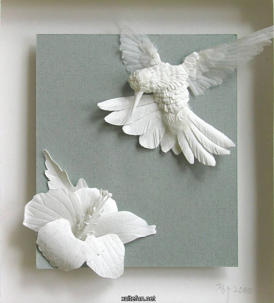 Beautiful And Exquisite Paper Bird With Flowerwow Art