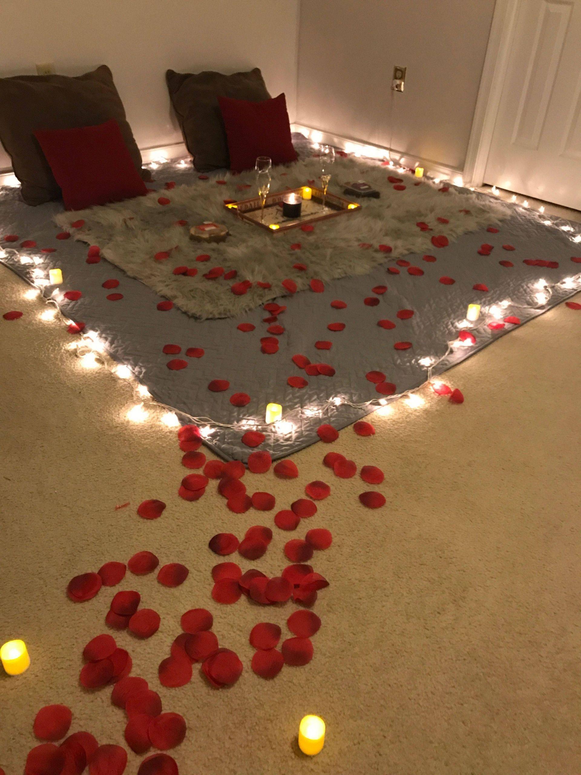 Romantic Valentine Day Dinner Room Decoration Surprise Date Night Ideas
