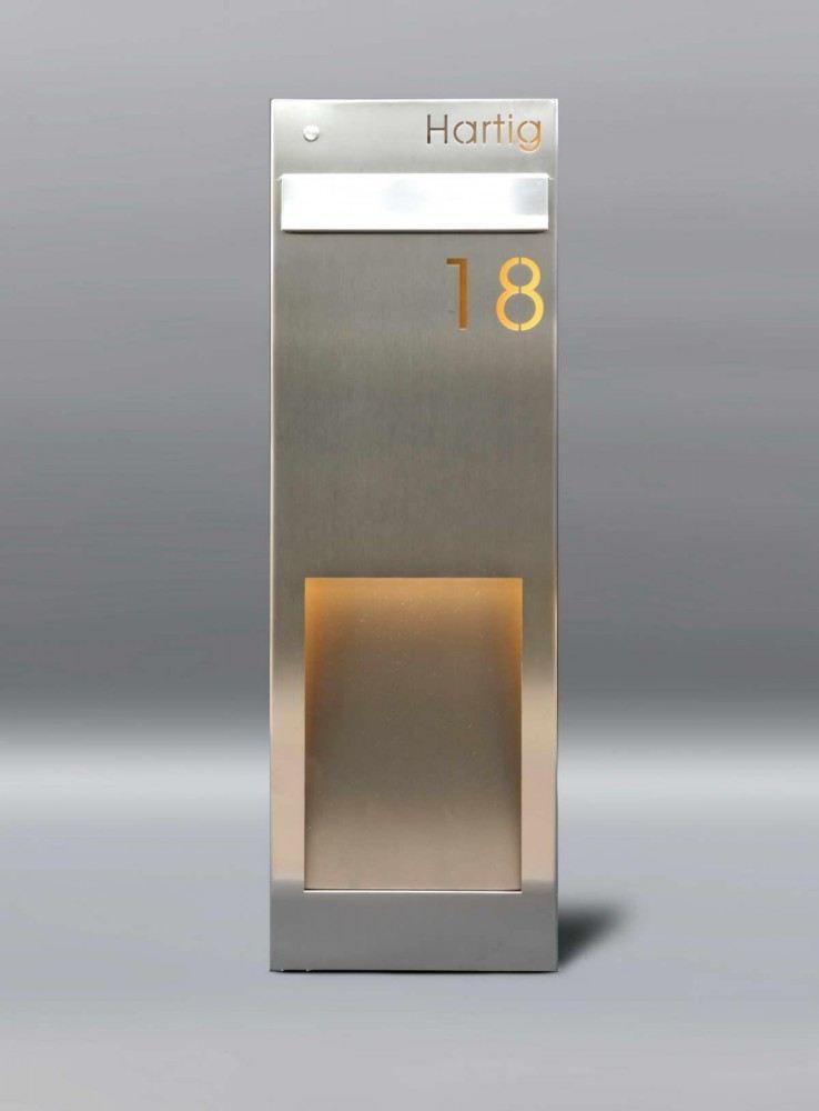 frei stehende edelstahl briefkastens ule briefkasten. Black Bedroom Furniture Sets. Home Design Ideas