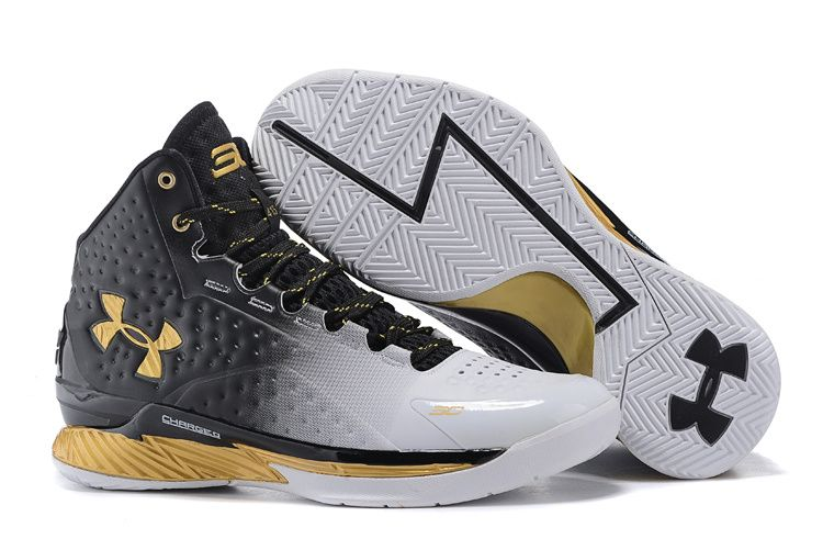 Bianco e nero · Under Armour Curry One Black White Gold Basketball Shoes