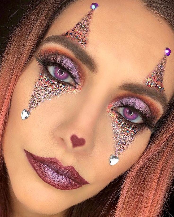 """Christa Rice sur Instagram: """"Glitter Glam Clown Maquillage détails Visage …"""