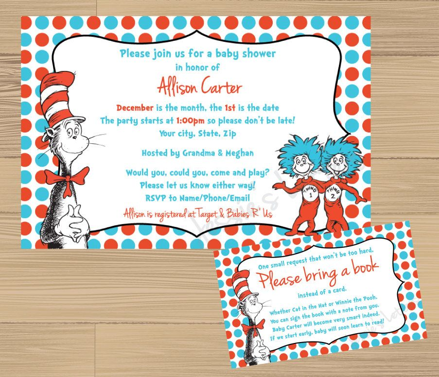 Custom Made Dr Suess Baby Shower Invitation and FREE Insert - download free baby shower invitations