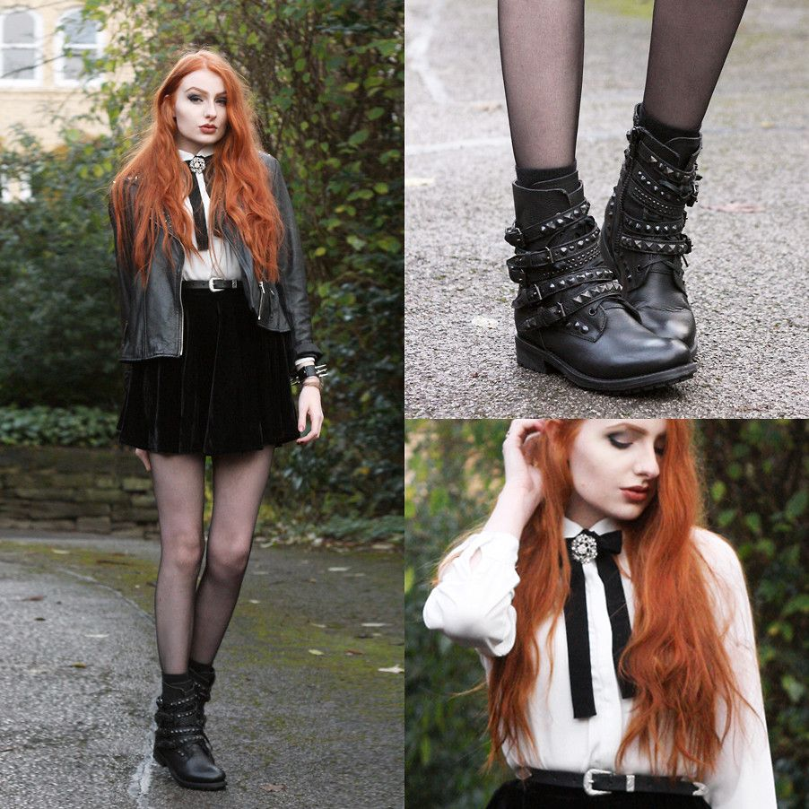 Olivia Emily - Ivory Jar Leather Biker Jacket, Mum's Vintage Brooch, Similar Ribbon Bow, Asos Western Skinny Belt, Romwe Black Velvet Skirt, Ash Footwear Rebel Studded Biker Boots - Ash.