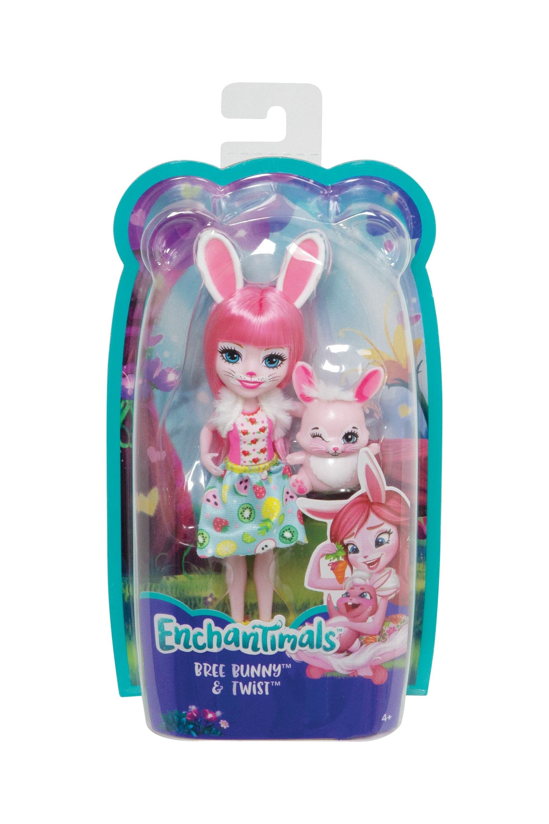 Girls Enchantimals Bree Bunny Doll 6 Inch And Twist Animal Figure Pink Paws Animal Figures Bunny Doll