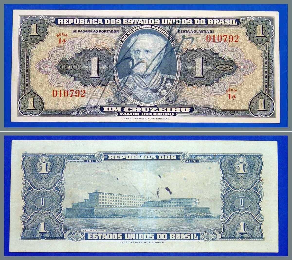 Cedula Antiga Do Brasil 1 Cruzeiro Fabricante American Bank Note