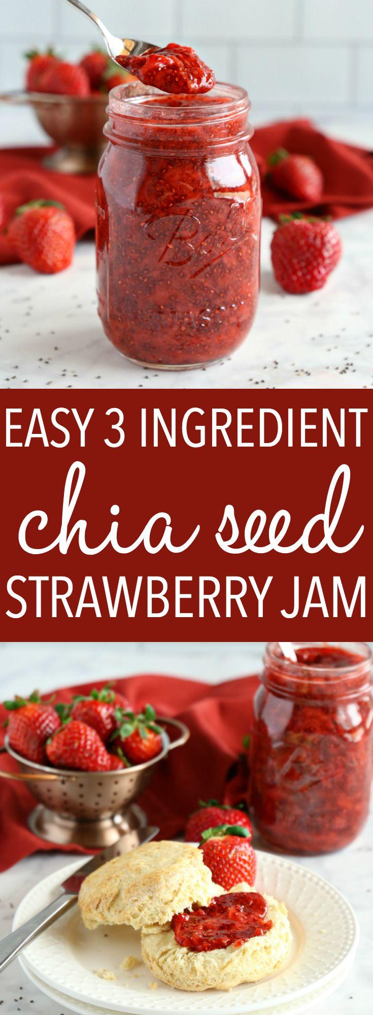 Easy 3Ingredient Chia Seed Strawberry Jam Recipe