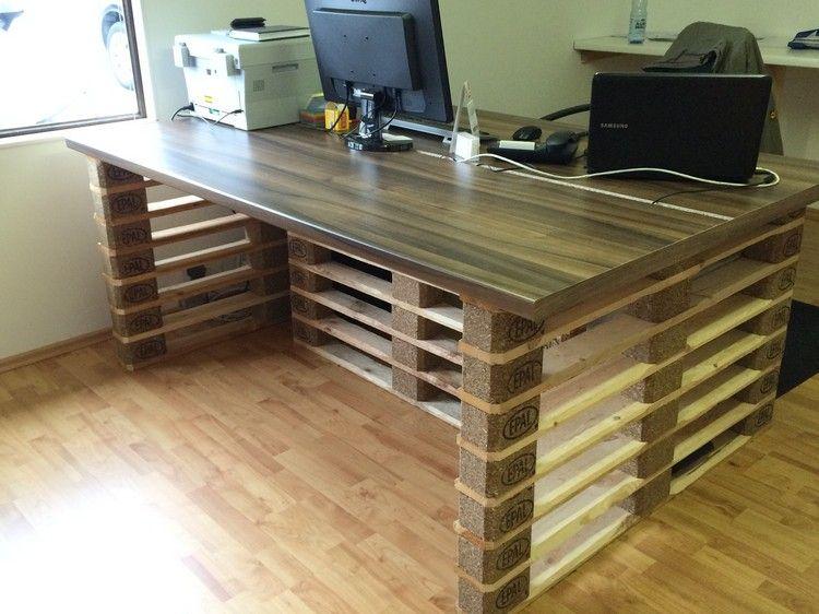 Büro schreibtisch selber bauen  schreibtisch-selber-bauen-paletten-buero-melamin-tischplatte ...