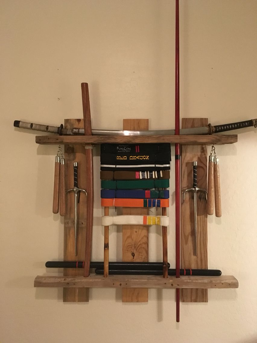 Karate belt display ideas - My Completed Martial Arts Equipment Display My Martial Arts Belts And Weapons In One Place