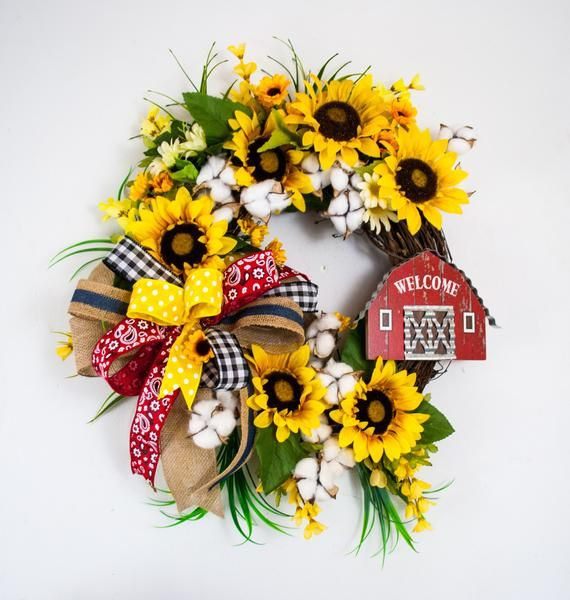Photo of Sunflower wreath with cotton, Summer sunflower wreath, farmhouse style sunflower wreath, farmhouse wreath with barn sign, welcome wreath