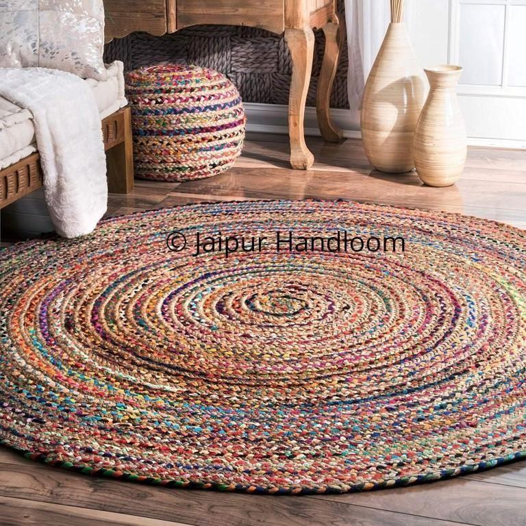 Extra Large Braided Chindi Round Rugs Dining Hall Area Carpet 5 Feet Round Braided Rag Rugs Braided Jute Rug Cotton Area Rug