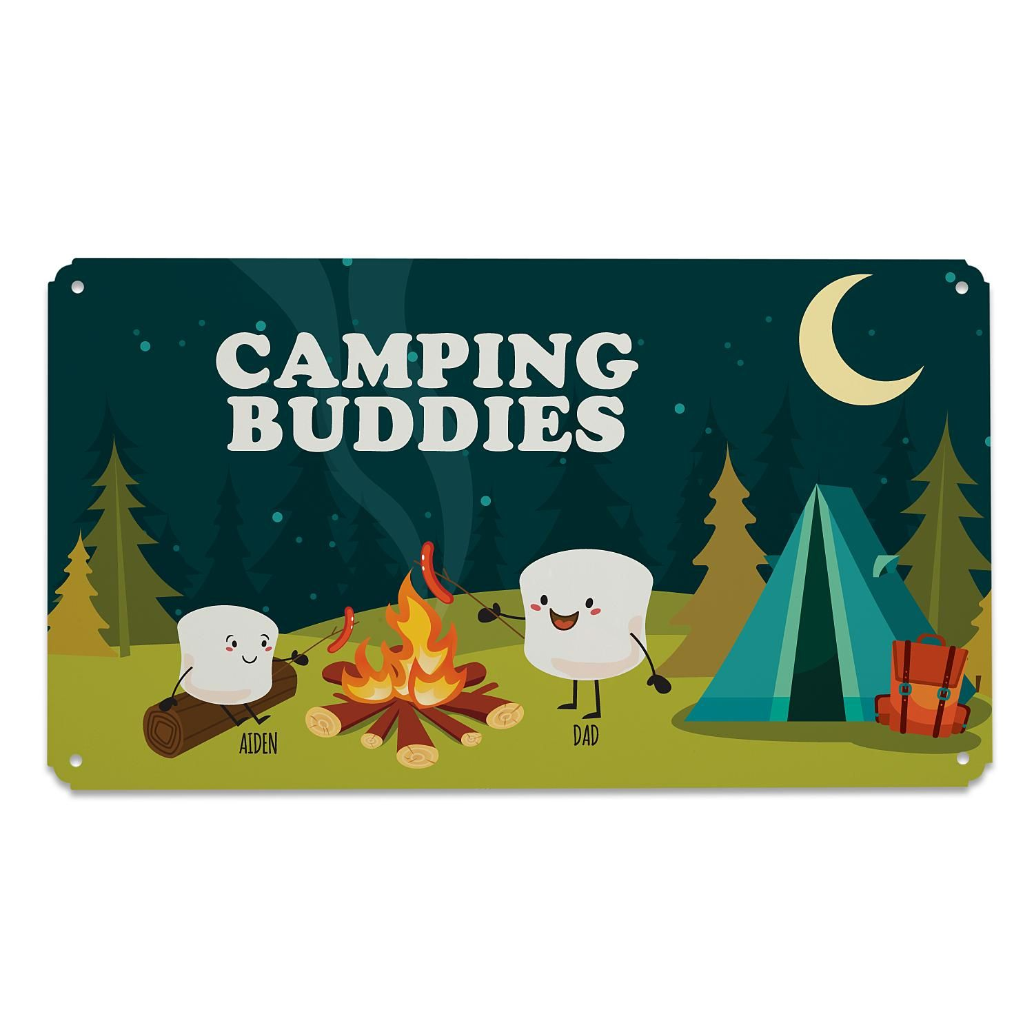 Personalized Campfire Smores Metal Sign Single Parent 1